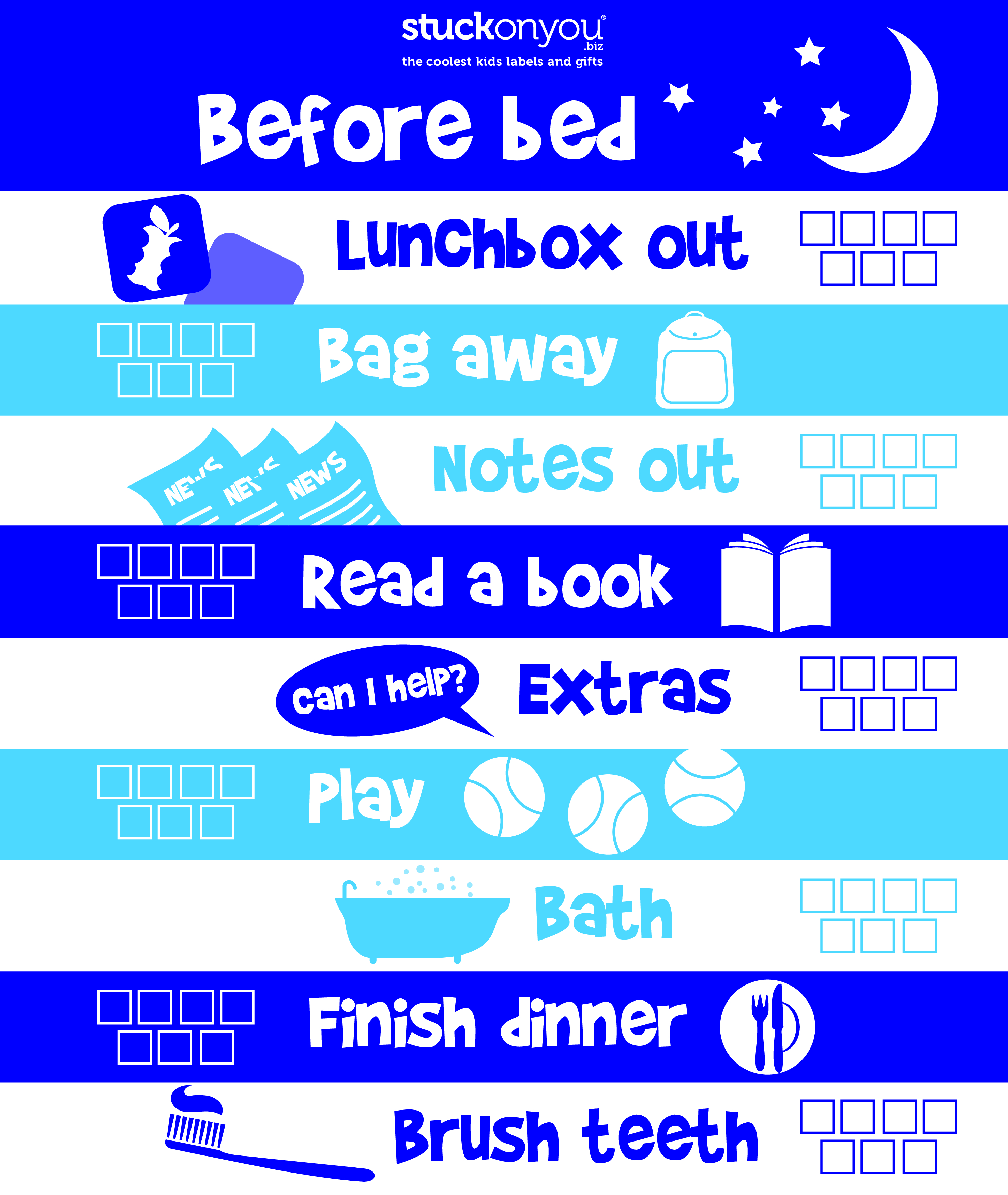 before kinder and before bed checklists stuck on you