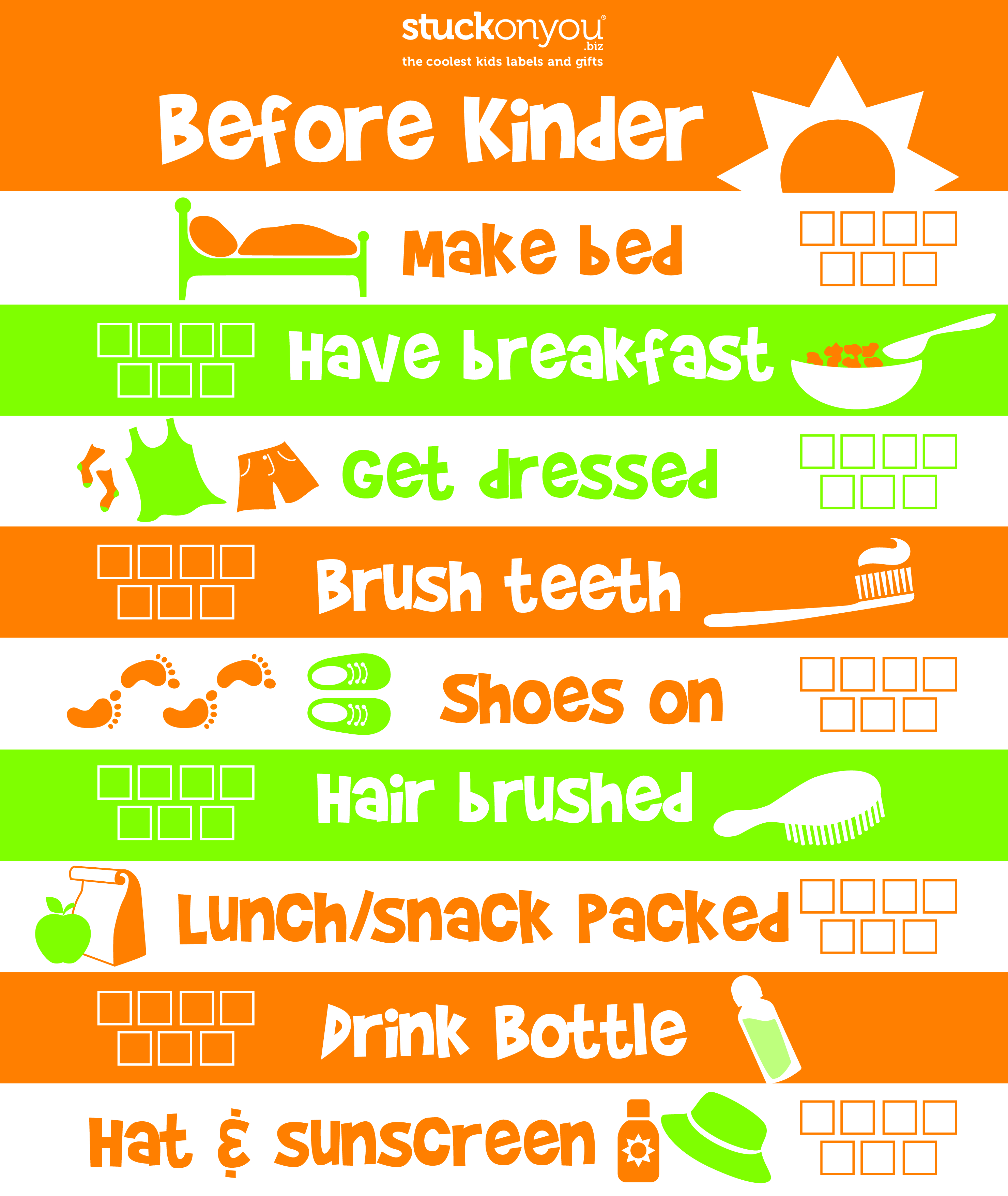 Free printable Before Kinder Checklist