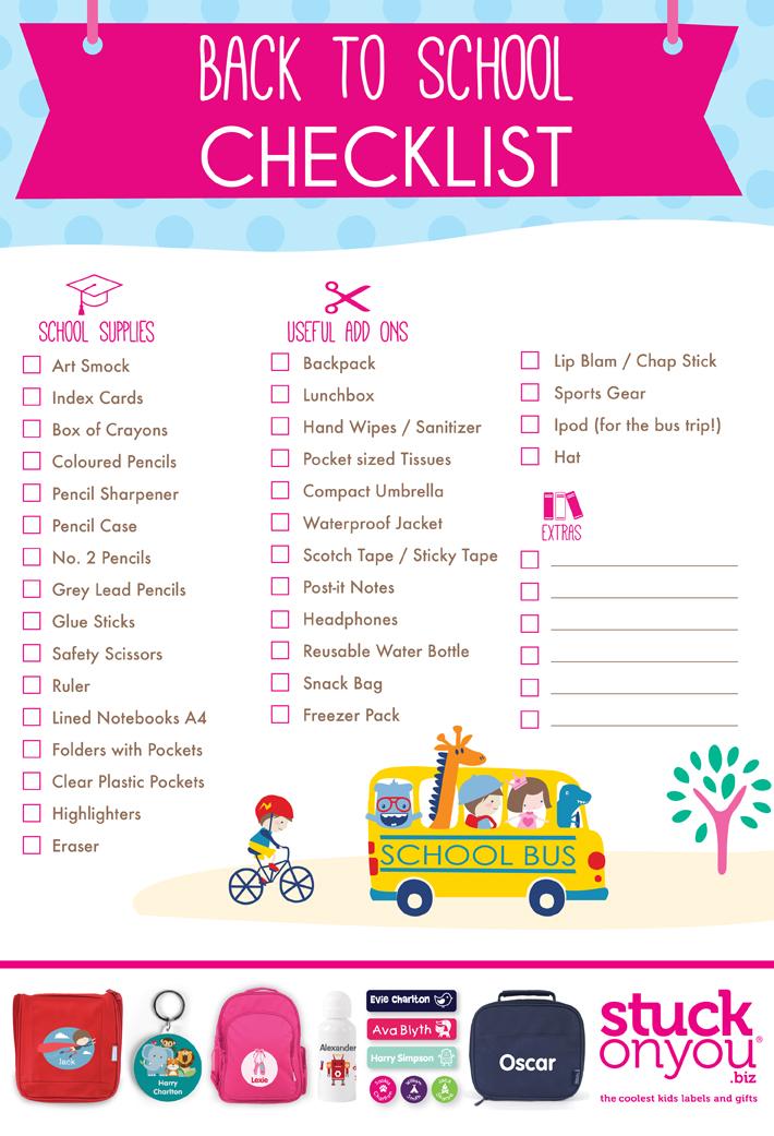 Back To School Checklist Free Printable Stuck On You