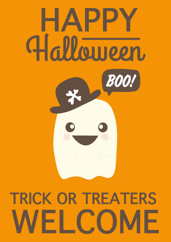 halloween poster ghost stuck on you
