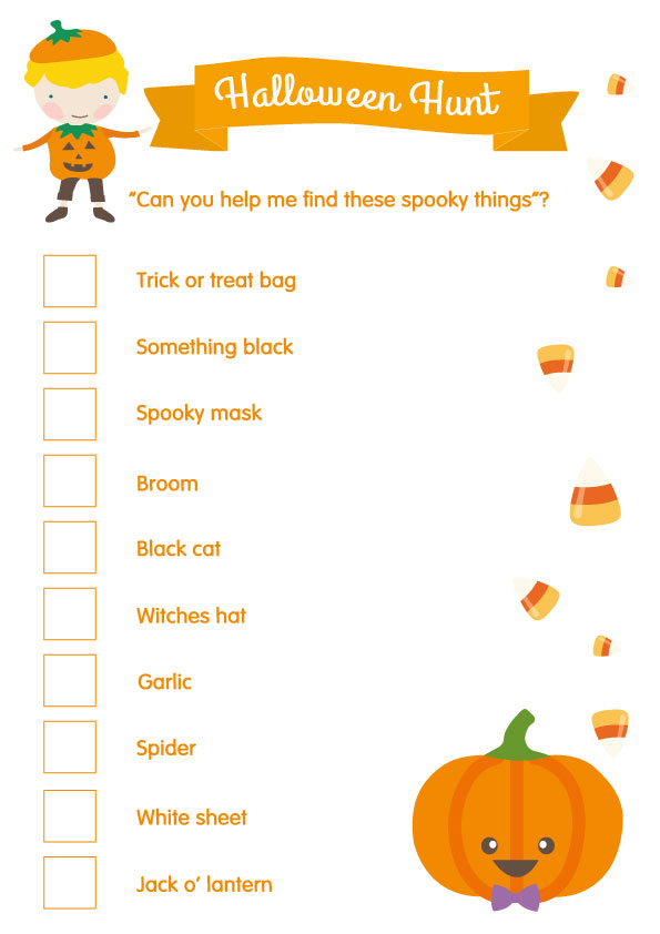 free printables halloween scavenger hunt for the younger kids - Halloween Cutouts For Kids