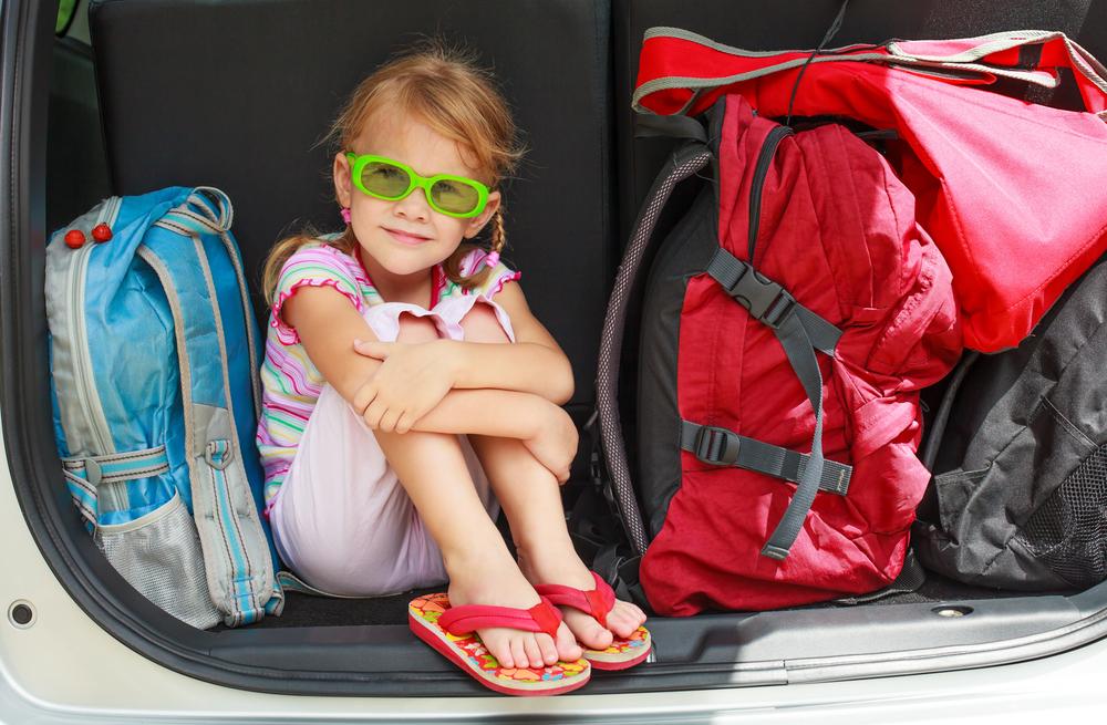 Family road trip - girl in car