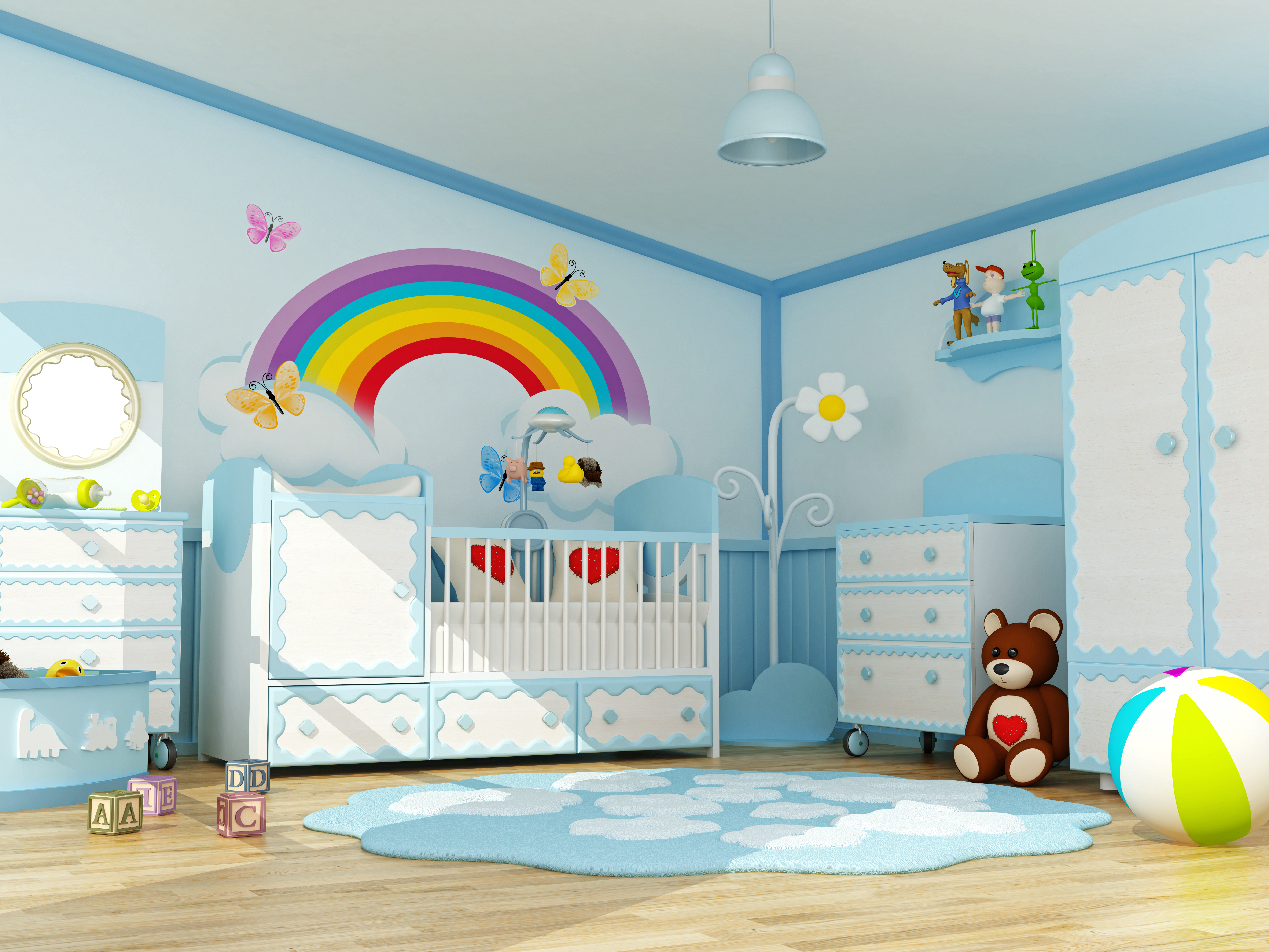 Baby room decorated with blue furnitures waiting for a little boy.Similar: