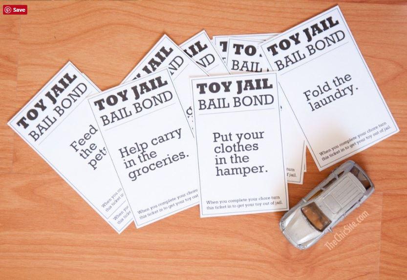 Children doing chores - toy jail tickets