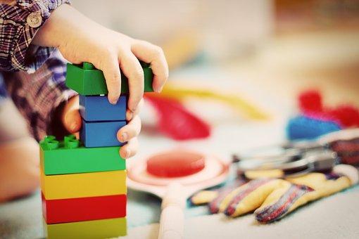 Educational playroom - stacking blocks