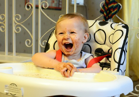 Bad behaviour - messy child in highchair