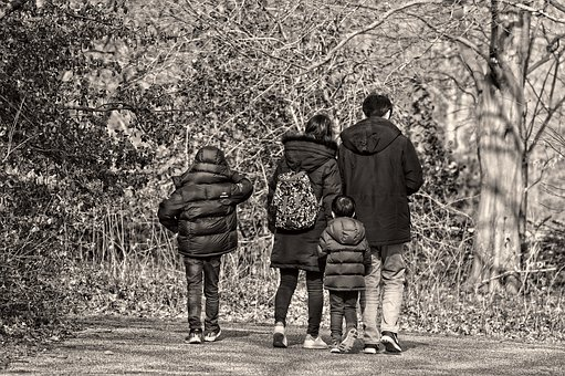 Winter blues - family walking together