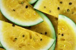 A picture of a yellow watermelon