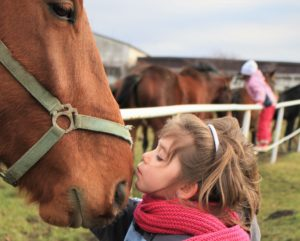 A picture of a girl kissing a horse on the nose