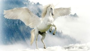 A picture of a unicorn with wings