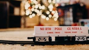 A picture of a Christmas toy train