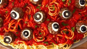 A picture of eyeball spaghetti.