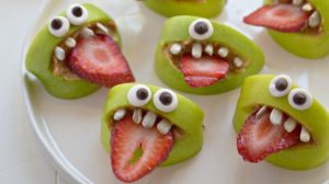 A picture of apple monster bite treats.