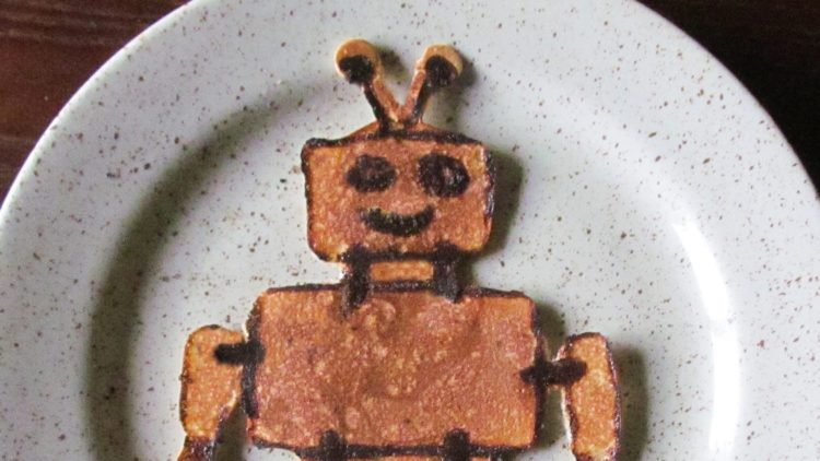 A picture of a robot pancake for great robot recipes
