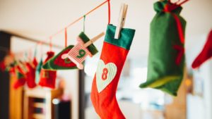 A picture of some Christmas stockings hanging in a room