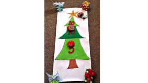 A picture of a Christmas beanbag toss game