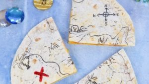 A picture of treasure map quesadillas