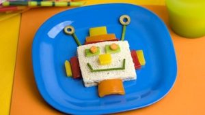 A picture of a robot made from a sandwich