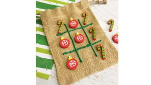 A picture of a Christmas tic tac toe game