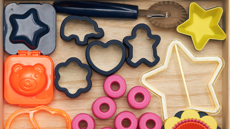 A photo of Bento Accessories that can be used to make shaped food