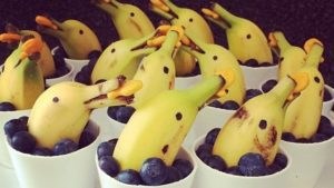 A picture of bananas made to look like dolphins