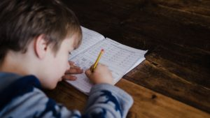 A picture of a child studying
