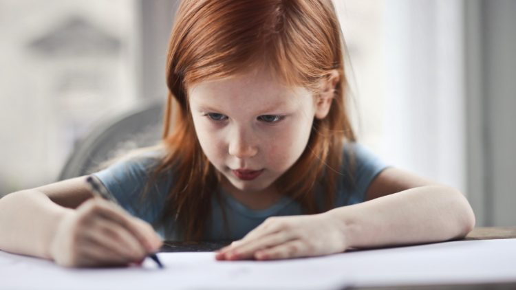 A picture of a child doing homework
