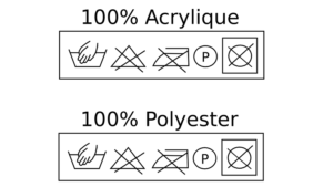 A picture of the instructions that go on a clothing label