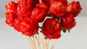 A picture of a bouquet of strawberries
