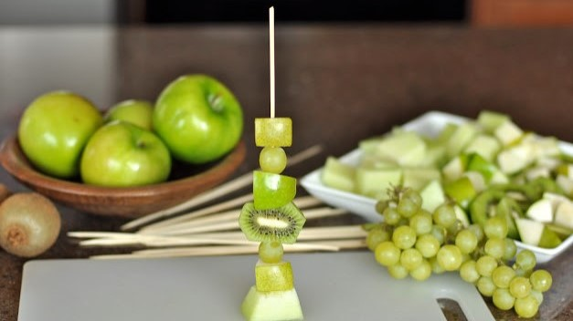 A picture of a fruit skewer