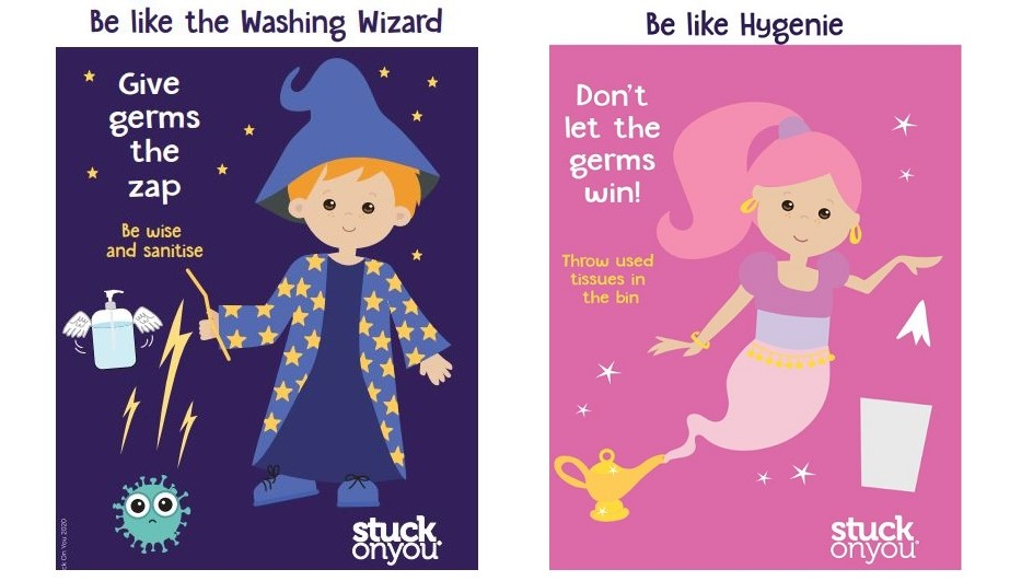 A picture of the Hygenie and Washing Wizard slogans