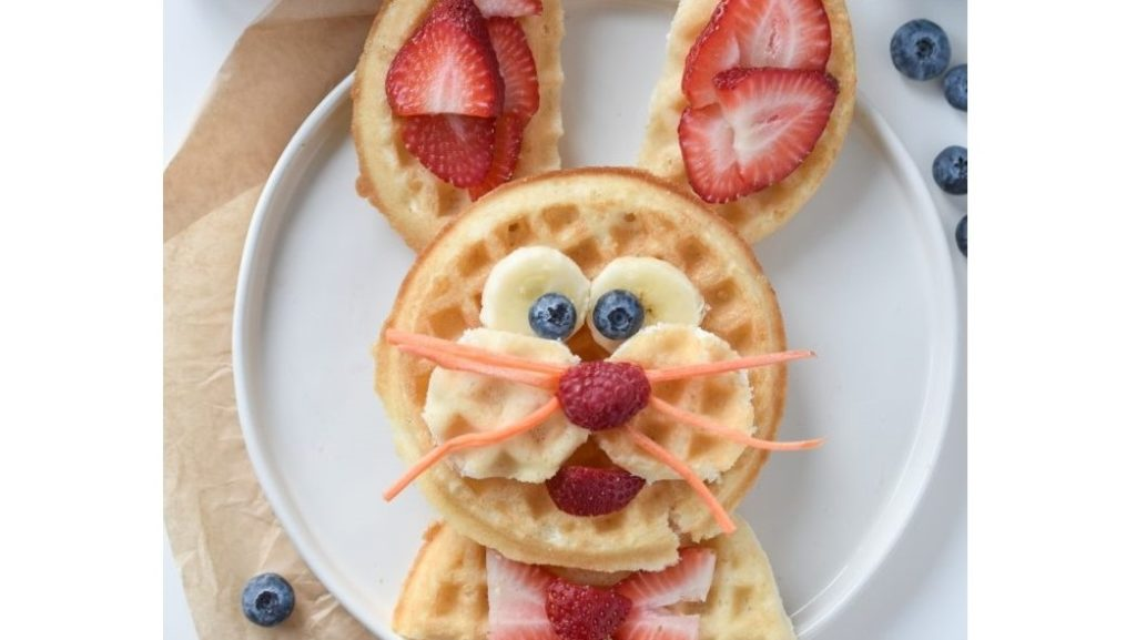 A picture of a Easter waffle bunny