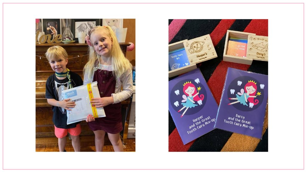 A picture of Yasmin Coulthard's kids with their Tooth Fairy Boxes and Books