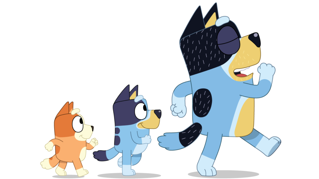 A picture of Bluey walking with Bandit and Bingo