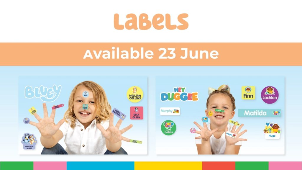 A picture of the Bluey and Hey Duggee Labels