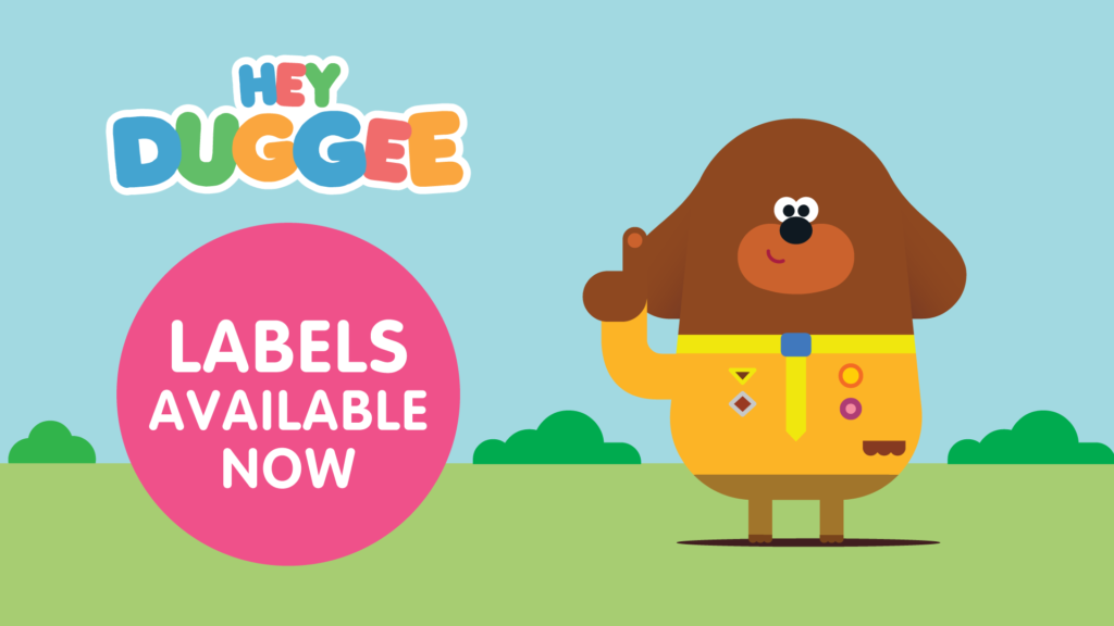 A picture of Duggee showing that Stuck On You labels are available