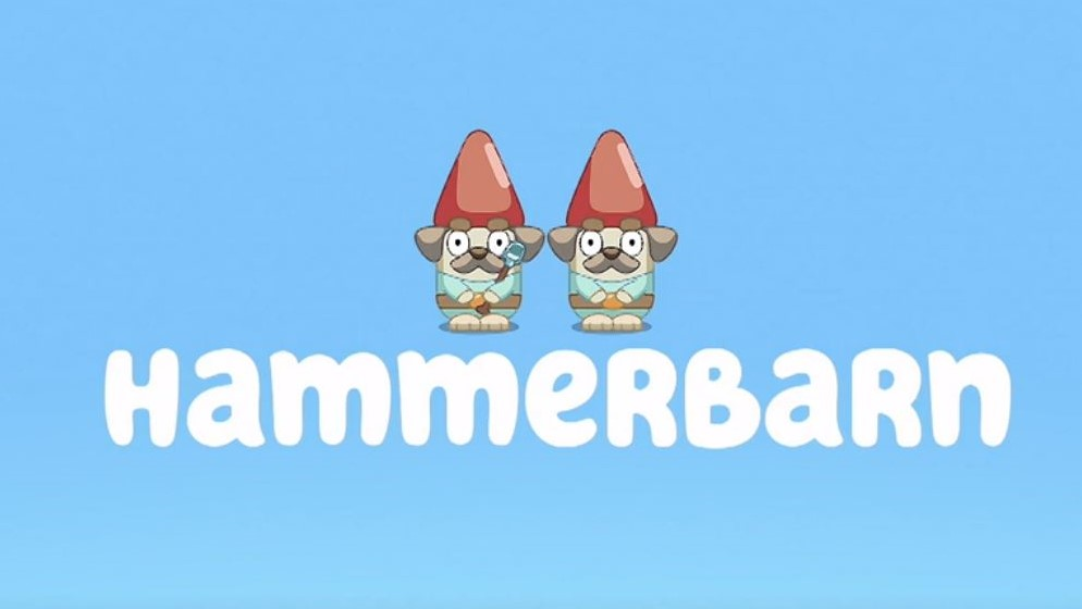 A picture of the Bluey title for Hammerbarn, one of Stuck On You's favourite Bluey episodes