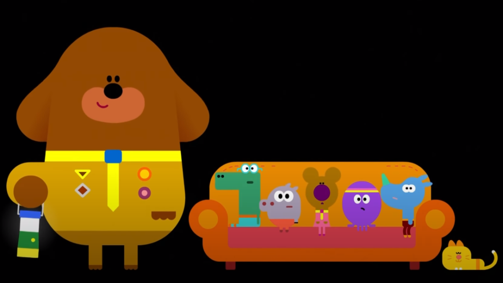 A picture of the Hey Duggee title for Shadow Badge