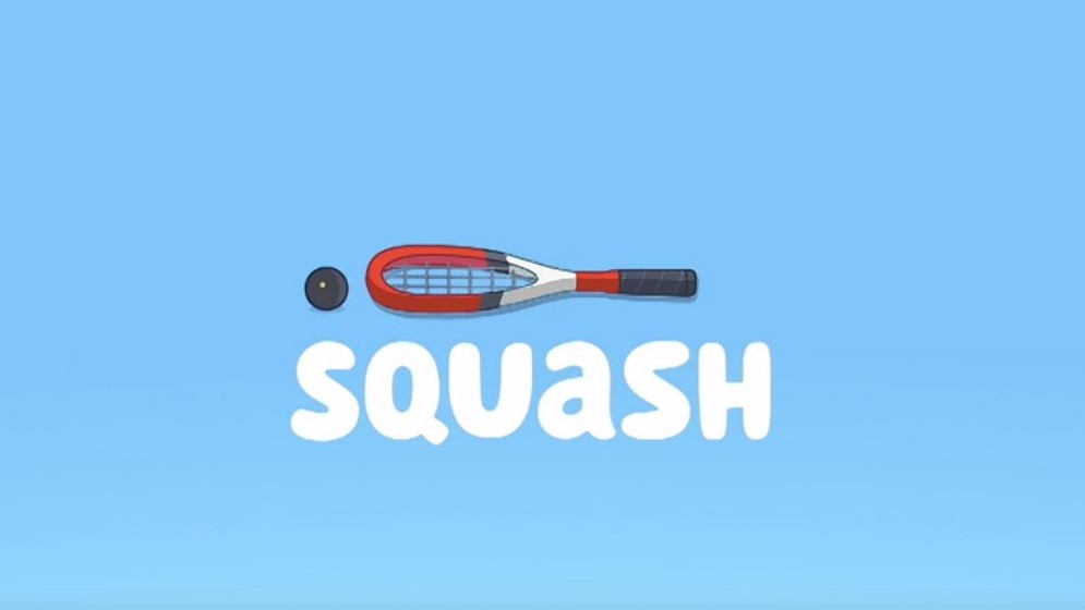 A picture of the Bluey title for Squash, one of Stuck On You's favourite Bluey episodes