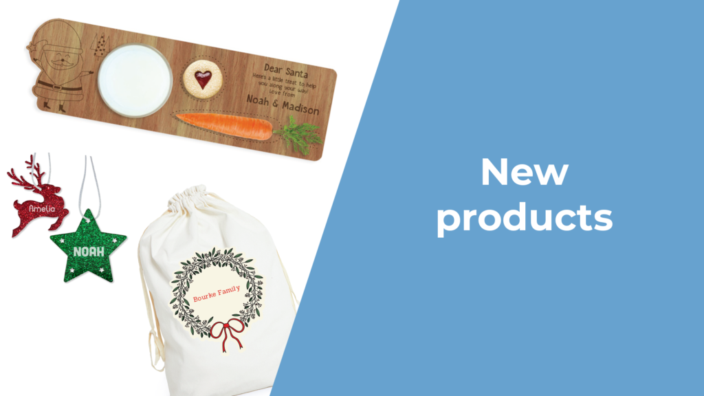 A picture showcasing the new range of festive personalised gifts