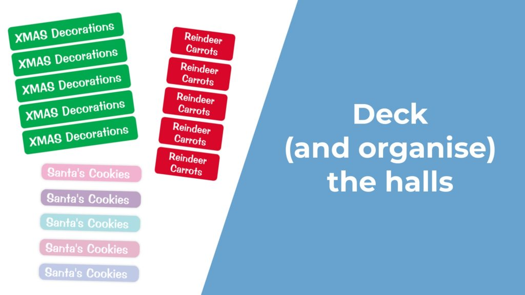 A picture of labels for festive organisation