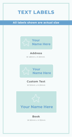 Sizes for Address Labels, Custom Text Labels and Book Labels