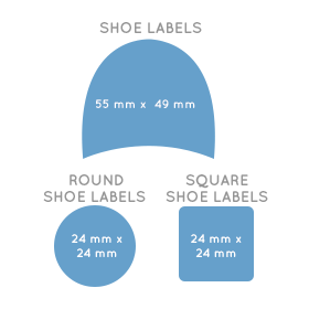 Sizes for Shoe Labels, Round Shoe Labels and Square Shoe Labels