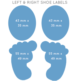 Left and Right Shoe Label Sizes